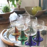 レトロ シャンパン・グラス/脚付きグラス 6脚セット 未使用品(と3406)