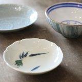 統制陶器 小皿/取り皿 竹/笹の葉 岐1008 アンティーク品(え3418)