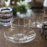 DURALEX デュラレックス ガラスコーヒーカップ&ソーサー クリア×ライン 未使用品