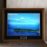 富士山 和風 電飾アートパネル 時計付き ユーズド品