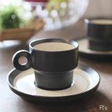 コーヒーカップ&ソーサー ブラウン×砂目 未使用品(め3602〉