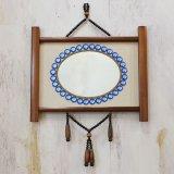 レトロ 壁掛け鏡/ウォールミラー 青玉飾り ユーズド品