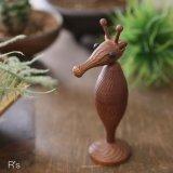 木の置物 オブジェ タツノオトシゴ ユーズド美品