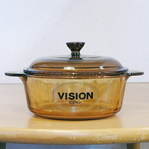 画像2: VISION 岩城硝子 ガラス両手鍋 アンバー 18cm 1.25リットル デッドストック品(RE上499)