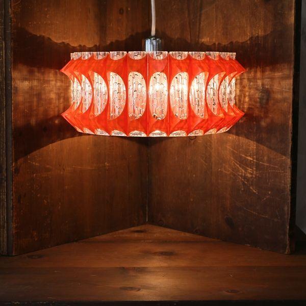 画像1: レトロ ペンダントライト/吊り下げ照明 平形 ギザギザオレンジ ユーズド品