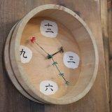 木桶時計 掛け時計/ウォールクロック 金魚 カスタムメイド