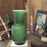 イタリア ムラーノ ガラス フラワーベース グリーン モデルルーム展示品(ホ2626)
