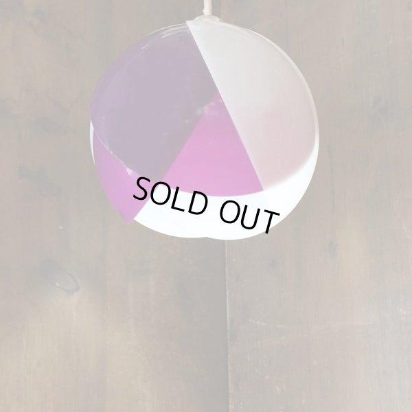 画像1: レトロ ペンダントライト/吊り下げ照明 丸形/チューリップ 紫×白 ユーズド品