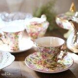 イギリス OLD FOLEY JAMES KENT ティーカップ&ソーサー 花柄 アンティーク品(ゆ3769)