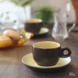 ノリタケ FOLKSTONE GENUINE ストーンウェア デミタスカップ&ソーサー 茶×黄 未使用品(M-2 3970)