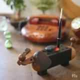 ダックスフント 犬型 木製 筆立て/ペンスタンド 印章入れ 朱肉付き ユーズド品