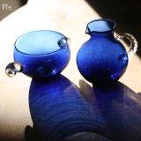 WAKO 和光 クリスタルガラス シュガーポット&クリーマーセット ブルー 未使用品 箱付き