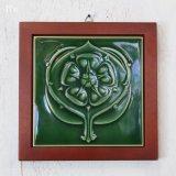 陶板飾り 額入りインテリア グリーン ユーズド品