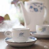 ノリタケ ストーンウェア デミタスカップ&ソーサー 青い花柄 未使用品(え4078)