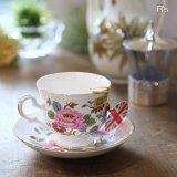 イギリス クラウン・スタッフォードシャー カップ&ソーサー ボーンチャイナ 花柄 未使用品(箱10 4229)