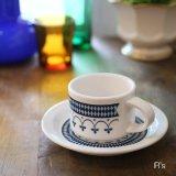 Toyotoki 東洋陶器 レトロ カップ&ソーサー 青花 ダイヤ柄 未使用品(箱11 4322)