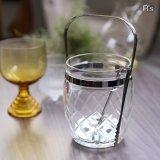 レトロ ハイクラス テーブルウェア ガラスアイスペール トング付 格子柄 未使用品(p4405)