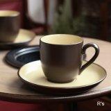 ノリタケ FOLKSTONE GENUINE ストーンウェア カップ&ソーサー 茶×黄 未使用品(CC5130)
