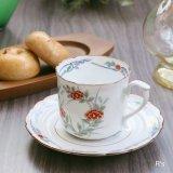 西山 レトロ コーヒーカップ&ソーサー 花柄 未使用品(ホ5240)