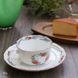 西山 レトロ ティーカップ&ソーサー 花柄 未使用品(ホ5241)