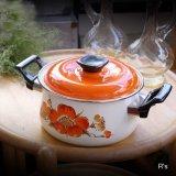 レトロ ホーロー両手鍋 20cm オレンジ花柄 未使用品(LL5345)
