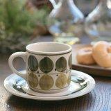 レトロ コーヒーカップ&ソーサー グリーン 丸柄 未使用品(I5547)