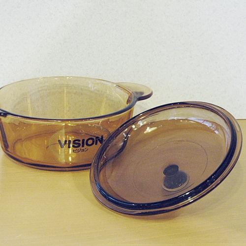 画像3: フランス VISION 岩城硝子 コーニング ガラス両手鍋 アンバー 18cm 未使用品(よ499)