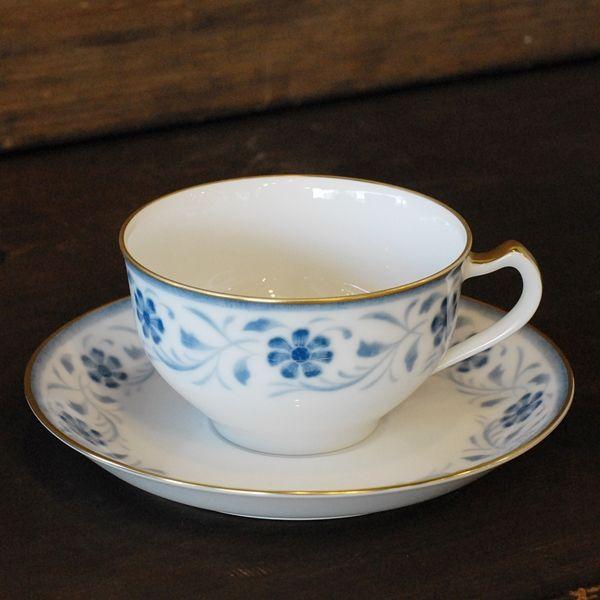 画像1: OKURA 大倉陶園 カップ&ソーサー ブルー小花柄 未使用品(フ681)