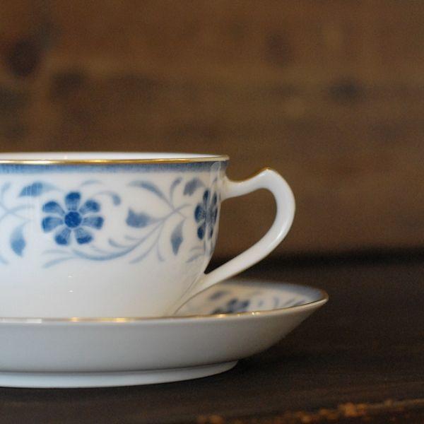 画像2: OKURA 大倉陶園 カップ&ソーサー ブルー小花柄 未使用品(フ681)