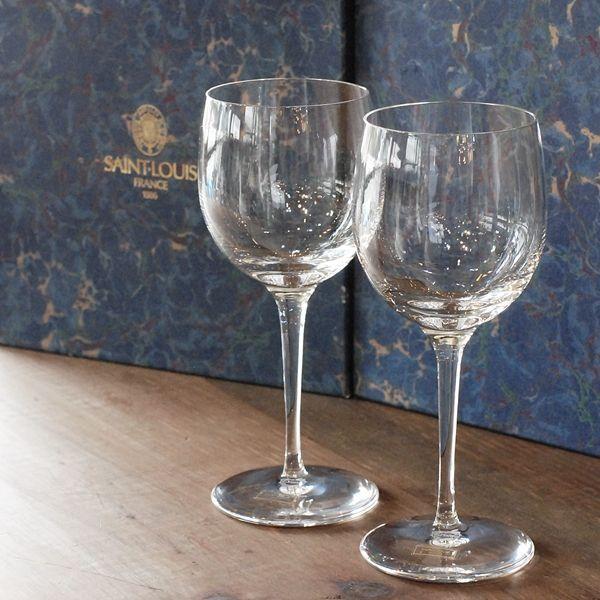 画像1: フランス SAINT LOUIS サンルイ ペアワイングラス 箱付き 未使用品(箱10 998)