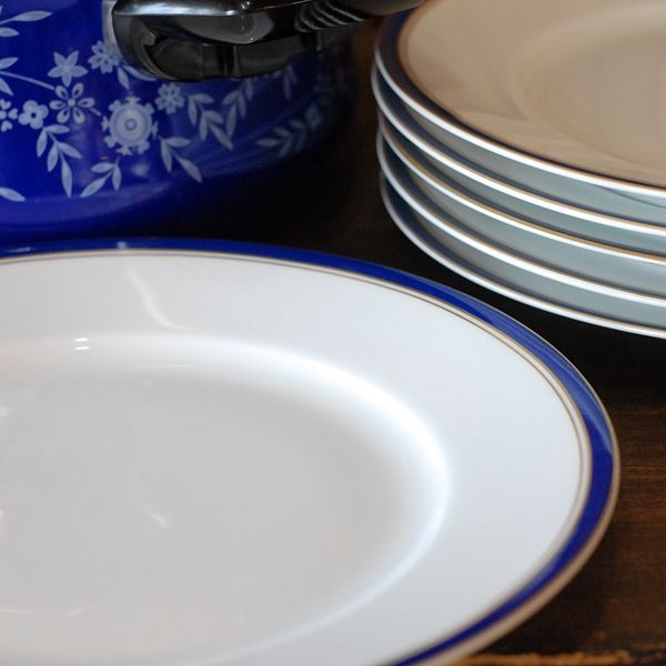 画像1: フランス RAYNAUD レイノー リモージュ プレート 皿 濃紺×金ライン 未使用品(こ1342)