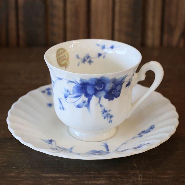 画像2: ノリタケ studio collection スタジオコレクション カップ&ソーサー 青い花柄 未使用品(を1717)