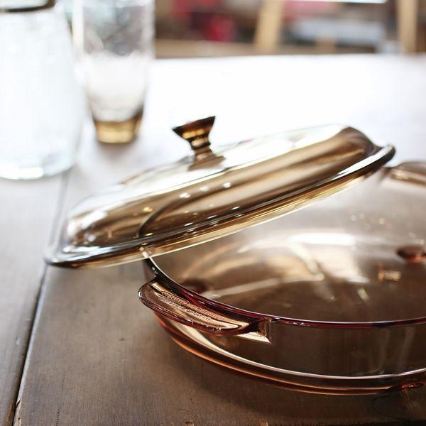 画像1: フランス VISION コーニング パイロセラム 脚付き卓上鍋 ガラス両手鍋 未使用品(も2006)