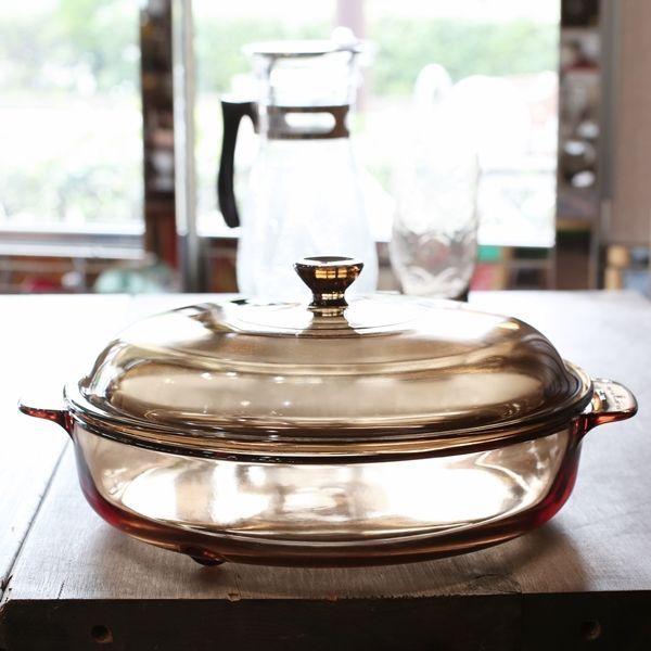 画像2: フランス VISION コーニング パイロセラム 脚付き卓上鍋 ガラス両手鍋 未使用品(も2006)