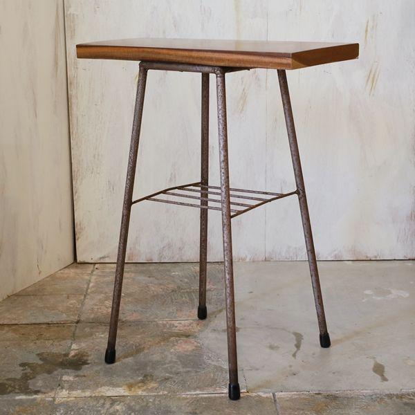 画像1: サイドテーブル 木×アイアン カスタムメイド