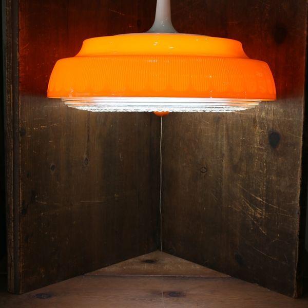 画像1: ナショナル レトロ ペンダントライト/吊り下げ照明 平形 粒オレンジ ユーズド品