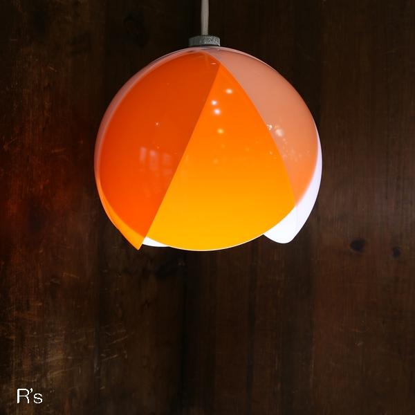 画像1: レトロ ペンダントライト 丸形 チューリップ オレンジ×白 コード長36.5cm ユーズド品(店4296)