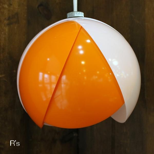 画像2: レトロ ペンダントライト 丸形 チューリップ オレンジ×白 コード長40cm ユーズド品(店4297)
