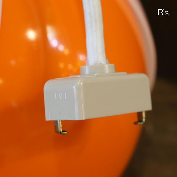 画像4: レトロ ペンダントライト 丸形 チューリップ オレンジ×白 コード長25cm ユーズド品(店4299)