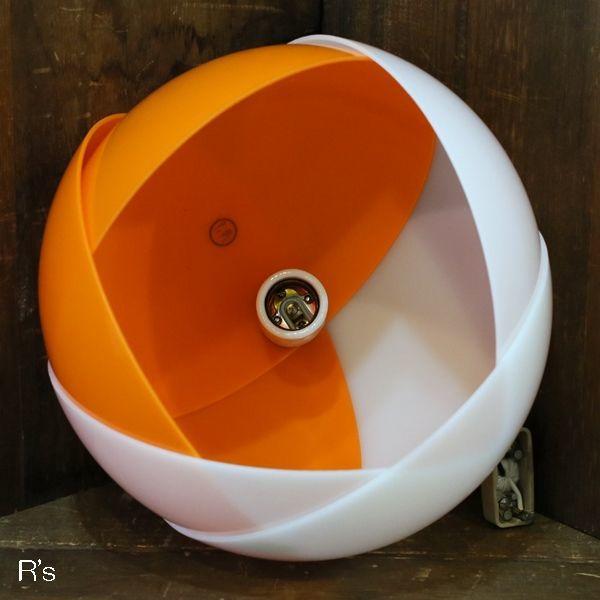 画像3: レトロ ペンダントライト 丸形 チューリップ オレンジ×白 コード長36.5cm ユーズド品(店4296)
