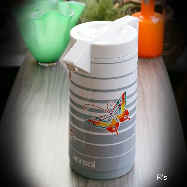画像1: DIA ダイヤ魔法瓶 山本寛斎デザイン ハンドポット ガラス魔法瓶 バタフライ H-101KB 未使用品 箱付き(HH5230)