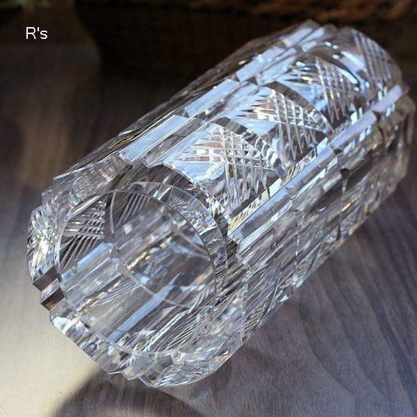 画像4: カガミクリスタル ガラスフラワーベース バイアスチェック 未使用品(店5317)