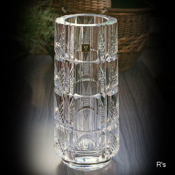 画像1: カガミクリスタル ガラスフラワーベース バイアスチェック 未使用品(店5317)