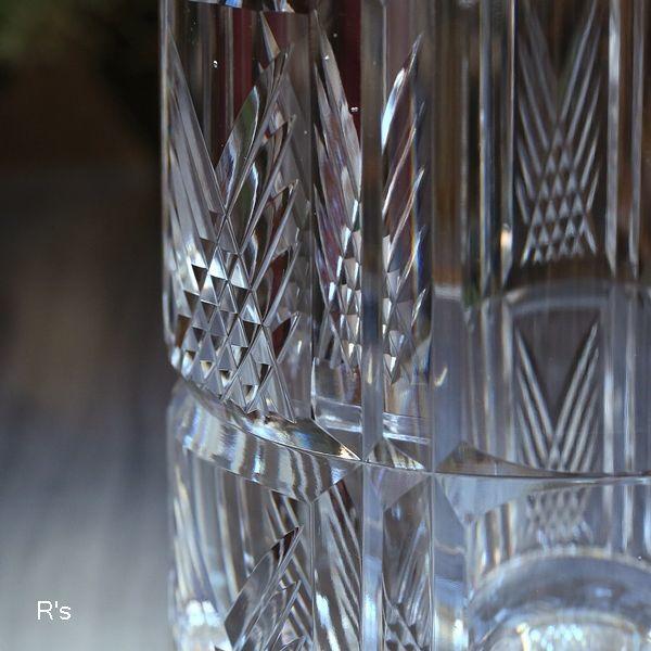 画像3: カガミクリスタル ガラスフラワーベース バイアスチェック 未使用品(店5317)