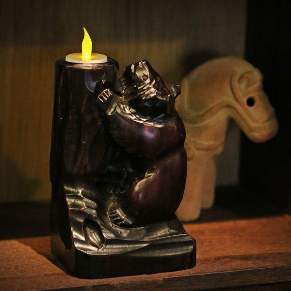 画像1: 北海道民芸 木彫りの熊の置物 LEDキャンドル付き ユーズド品(店5346)