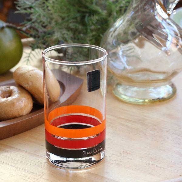 画像1: ピエールカルダン Sasaki Glass レトロ タンブラー オレンジ×赤×黒 未使用品 (箱7 5352)