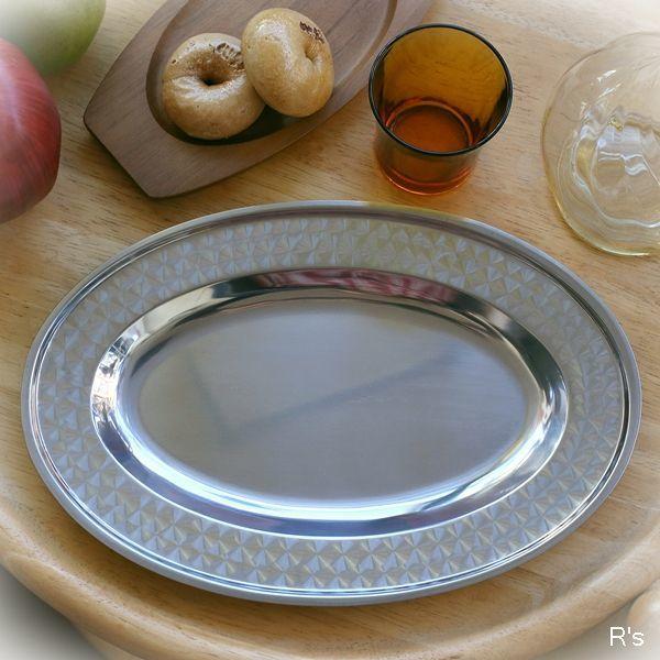 画像1: ステンレス製 オーバルプレート 盛皿 未使用品 (箱7 5350)