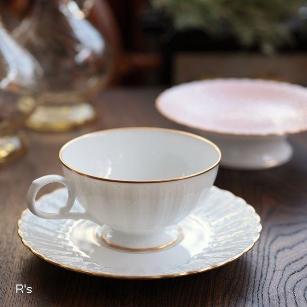画像1: ノリタケ ダイヤモンドコレクション ティーカップ&ソーサー 金彩 白 未使用品(箱7 5532)